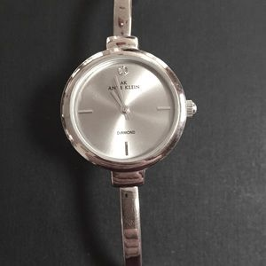 Anne Klein silver tone watch with crystal accent